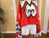 Reduced 30 - Indian Blanket Poncho / Native American Poncho / Boho Aztec Blanket Poncho