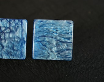 80s Blue Square Earrings