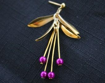 Purple & Gold Hanging Bead Earrings