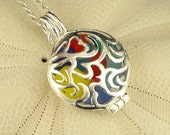 Sterling Silver Locket Rainbow GENUINE Sea Glass Necklace RARE Eco Friendly