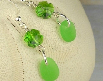Shamrock Earrings Sparkling Swarovski Crystal Shamrock And GENUINE  Sea Glass Jewelry