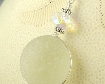Eco Friendly Sea Glass Jewelry GENUINE White English Sea Glass Necklace