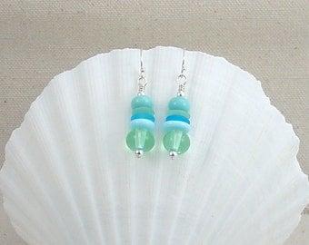Stacked Lampwork Sea Glass Earrings Ocean Colors Sterling Silver