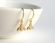 Tiny Bee Earring - little brass bumblebees on small delicate gold plated hooks - minimalist spring honey hive