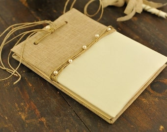 Wedding Guest Book - Traditional Weddings- Burlap,Ivory and Pearls