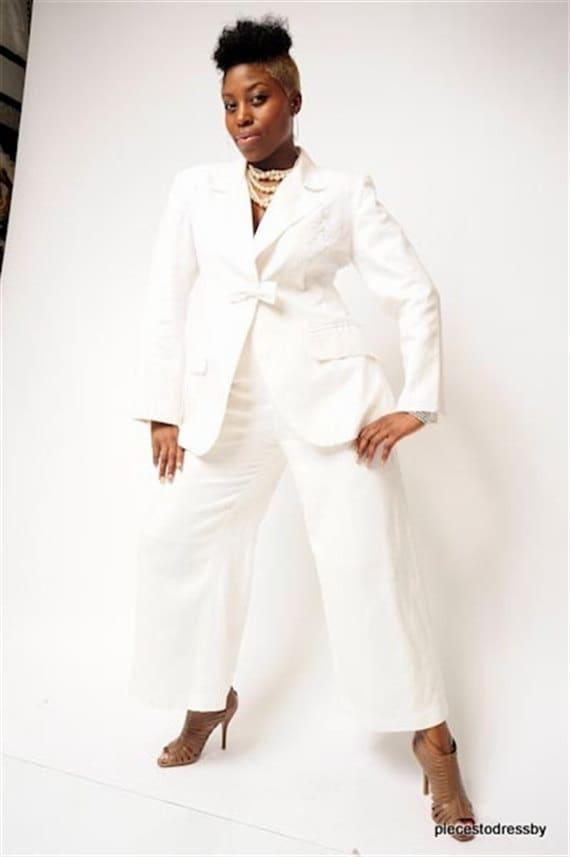 White Linen Pants Suit Wide Leg Pants Lace Motif Bow Trim