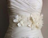 "Wedding Sash Bridal Belt Julie - Ivory Lace, Organza and Satin flowers on a 3"" Ivory Satin Ribbon"