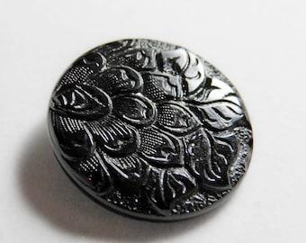 Vintage Czech Black Glass Button Offset Flower Petals