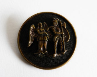 Vintage Picture Button Charlemagne and the Warning Angel
