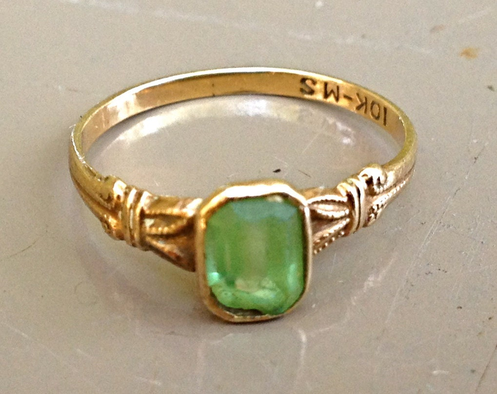 Vintage Tiffany Ring 1920s 30s 10k Gold Emerald Ring