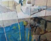 Here-ORIGINAL mixed media artwork in blue and neutrals