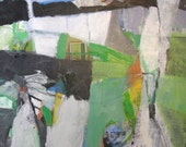 Interior  No. 3- framed ORIGINAL abstract painting in greens, gray, black, and white