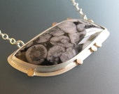 Black & White Fossil Jasper Sterling Silver and Gold Pendant Necklace, Leaf Shape