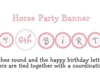Horseback riding Party Birthday Banner  -- horse party banner -- horse birthday