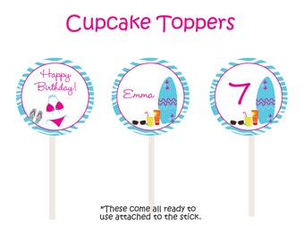 Pool Party Cupcake Toppers -  swimming party cupcake toppers - girls pool party