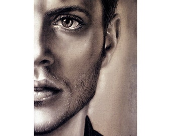 Dean Winchester - Jensen Ackles - Matted 8x10 Watercolor Giclee Print - Supernatural, Realistic charcoal drawing, celebrity portrait