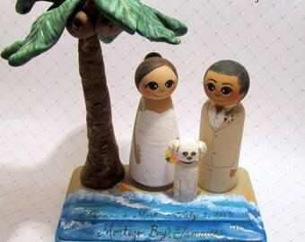 Wedding Cake Topper / Beach Theme / Custom Painted Wood Peg Dolls with Base and custom sculpted palm tree /beach