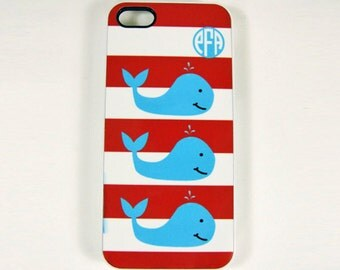 iPhone 4, 4S or 5 Cell Phone Case Whales and Monogram, Whales Phone Case,  iPhone Case, Beach Cell Phone Case, Seashore