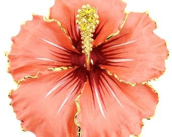 Peach Hawaiian Hibiscus Flower Brooch/Pendant 1000993