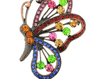 Vintage Multi-Color Butterfly Pin Brooch/Pendant 1002112