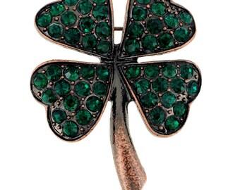 Emerald Lucky 4 Leaf Clover Pin Brooch 1000042