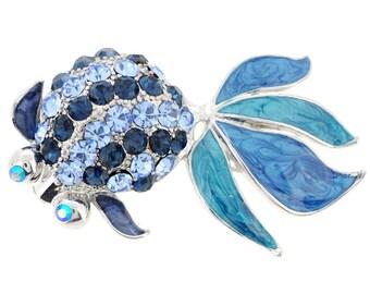 Enamel Blue Goldfish Pin Brooch 1001872