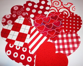 Iron On Fabric Applique 10 Assorted Valentine Hearts...All Red And White Tone Fabric Prints