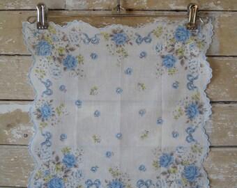 Vintage Hankie or Handkerchief Blues Scallopped Edge Lovely
