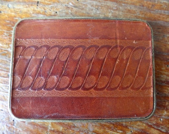 Vintage Retro Leather and Brass Belt Buckle