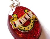 Rockabilly Tattoo Necklace Lucky Horseshoe and Red Glitter