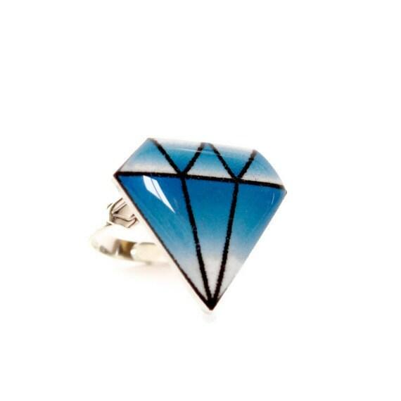 Tattoo Style Blue Diamond Ring, Traditional Rockabilly Tattoo Art