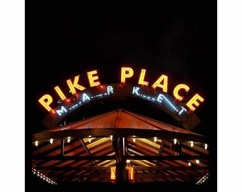 Seattle Neon Sign, Pike Place Market Sign, UNMATTED 8x8 fine art print