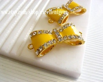 Gold plated Rhinestone bow Connector in Yellow color-15mmx30mm