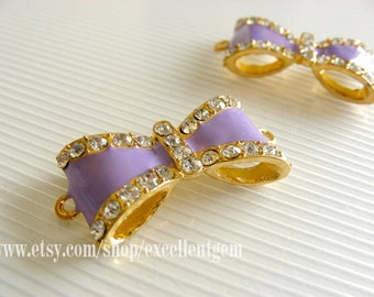 Gold plated with crystal Rhinestone bow Connector,pendant in Violet color-15x30 jewelry making