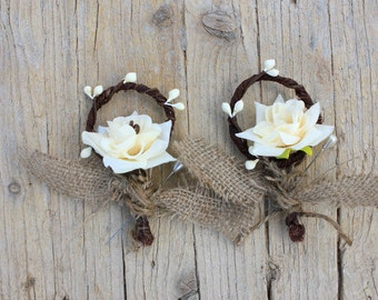 RUSTIC BURLAP BOUTONNIERES - Set of 2 Wedding Bouttonieres Buttonhole Rustic Burlap Flower- Men