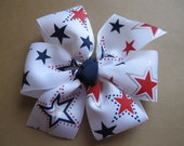 Red, White and Navy Star Pinwheel Bow--Patriotic Bow---Large Pinwheel Bow--4th of July Pinwheel Bow