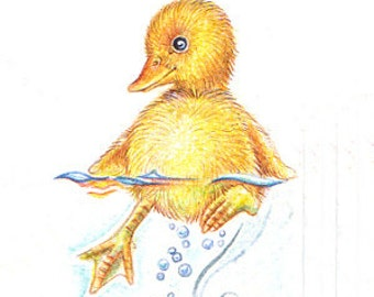 Original ACEO  ducky 8  .NOT a print ..original painting watercolor card drawing yellow duck water