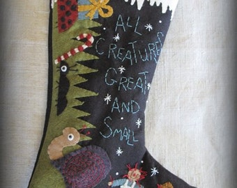 FINISHED PIECE All Creatures Great and Small Christmas Stocking by cheswickcompany