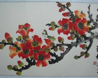 Original Chinese painting-Blossom and Insect(Kapok and Mantis)