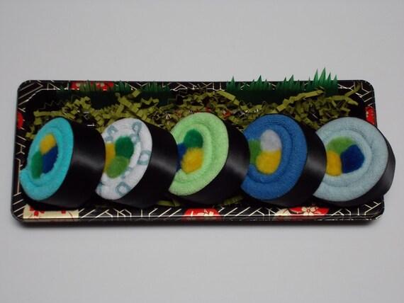 Washcloth Sushi Baby Boy Shower Gift - Rainbow Roll