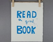 Back to School Read a Good Book Linocut PRINT Light Blue 8x10 Typography