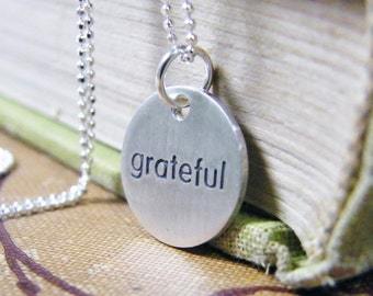 grateful necklace sterling silver hand stamped charm matte finish