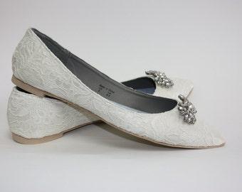 Wedding Shoes - Lace - Flats - Lace Wedding Shoes - Crystals - Wedding Flats - Shoes - Crystals -  Downton Abby - Vintage Shoe - Parisxox