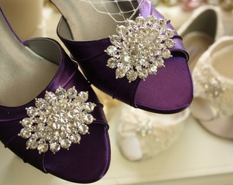 Wedding Shoes - Crystal Bling - Low Heel - Shoes - Dyeable Choose From Over 200 Colors - Choose Your Heel Height - Custom Shoes By Parisxox