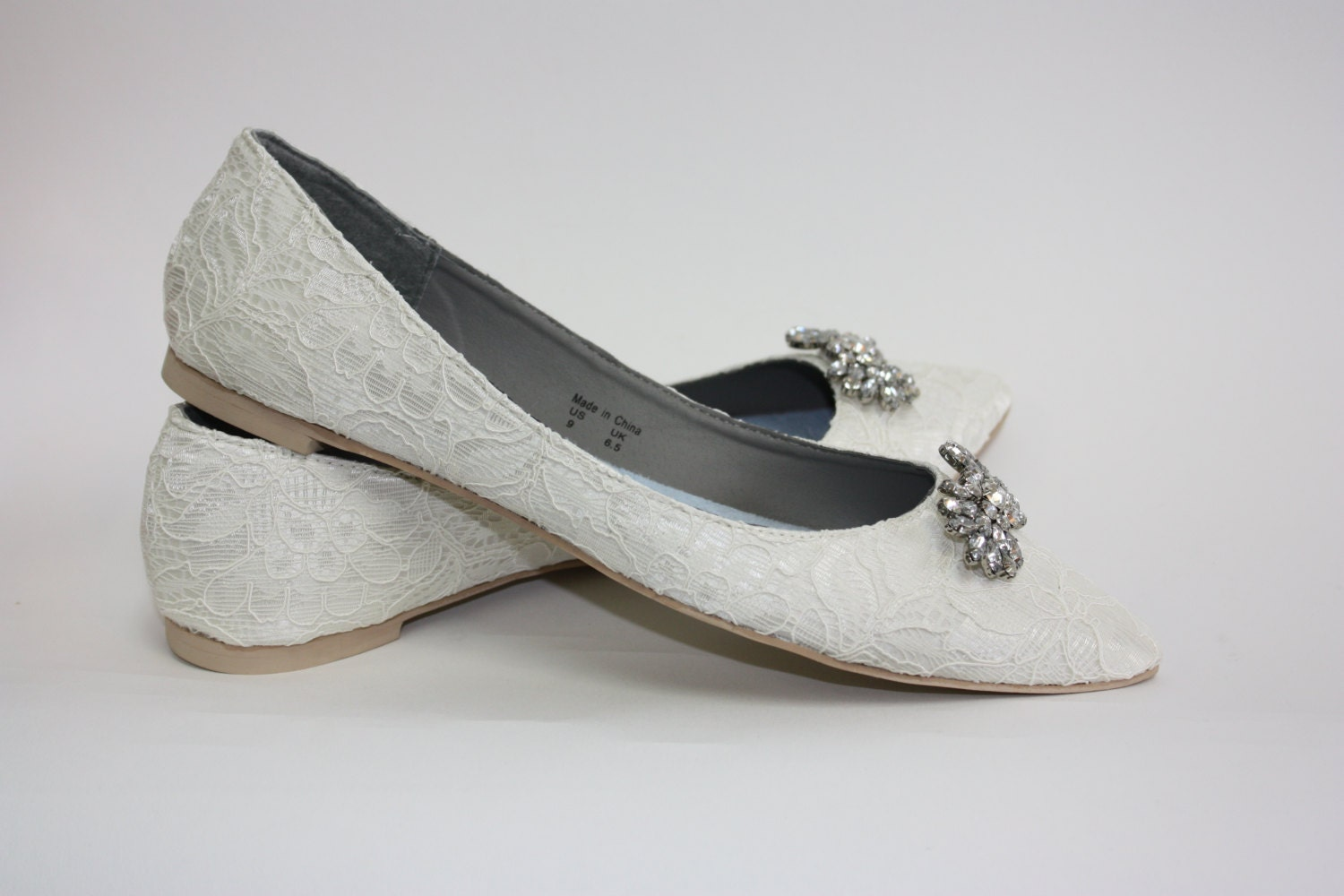 Wedding Shoes Lace Flats Lace Wedding Shoes Crystals