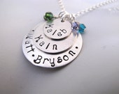 Sterling Silver Custom Stacked Family Necklace with Birthstone Crystals
