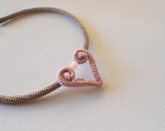 Romantic Heart Crochet Choker, Pastel Brown Dusty Rose Heart Necklace