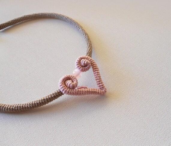 Romantic Heart Crochet Choker, Pastel Brown Dusty Rose Heart Necklace