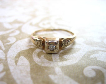Art Deco 14K Gold Diamond Engagement Wedding Band Ring