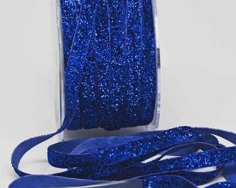 Velvet Metallic Trim -- 3/8 inch -- Bright Blue Sparkle -- Royal Glitter Nylon Ribbon